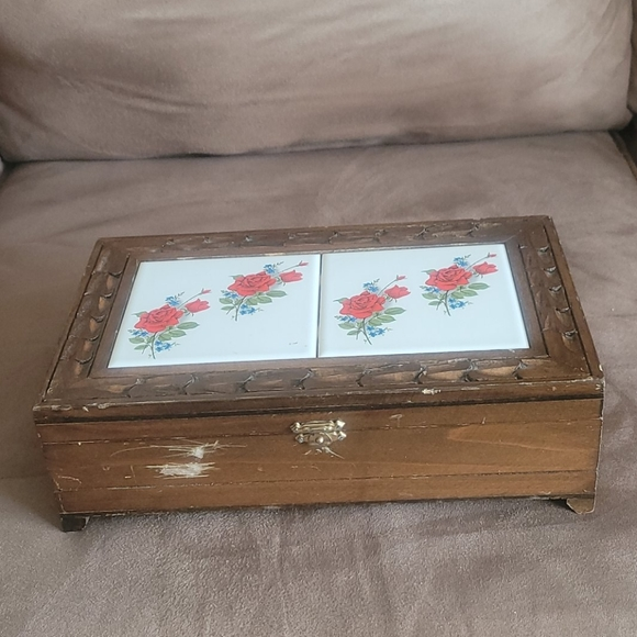 Painted Tile and Carved Wood Jewelry Storage Box